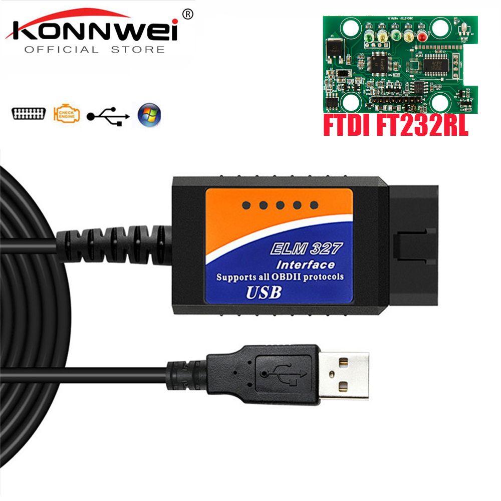 ELM327 USB OBD2 FTDI FT232RL Puce OBD II Scanner Automobile pour PC EML 327 V1.5 ODB2 Interface Outil De Diagnostic ELM 327 USB V 1.5