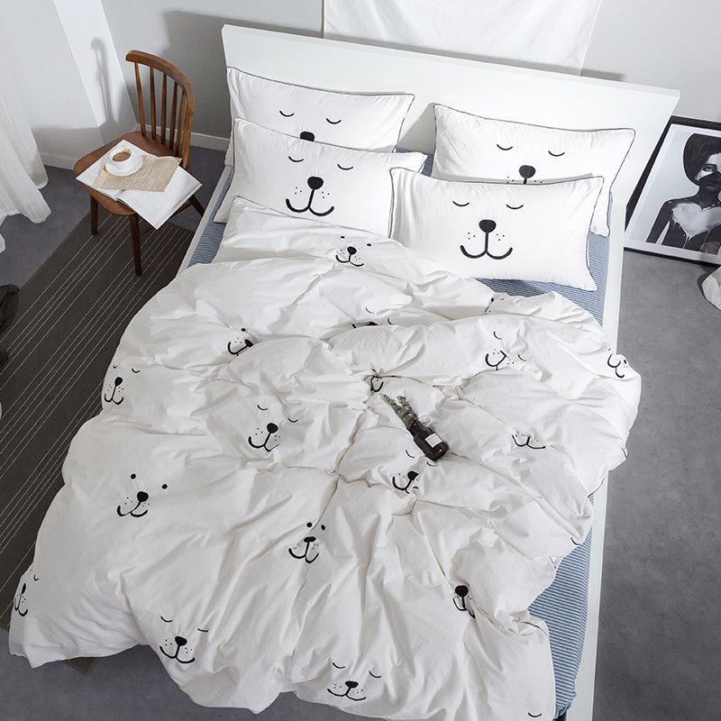 White dog pineapple smile Embroidery Bedding Set Kids Cute Duvet Cover Set washed Cotton Soft Bed Set With Flat Sheet