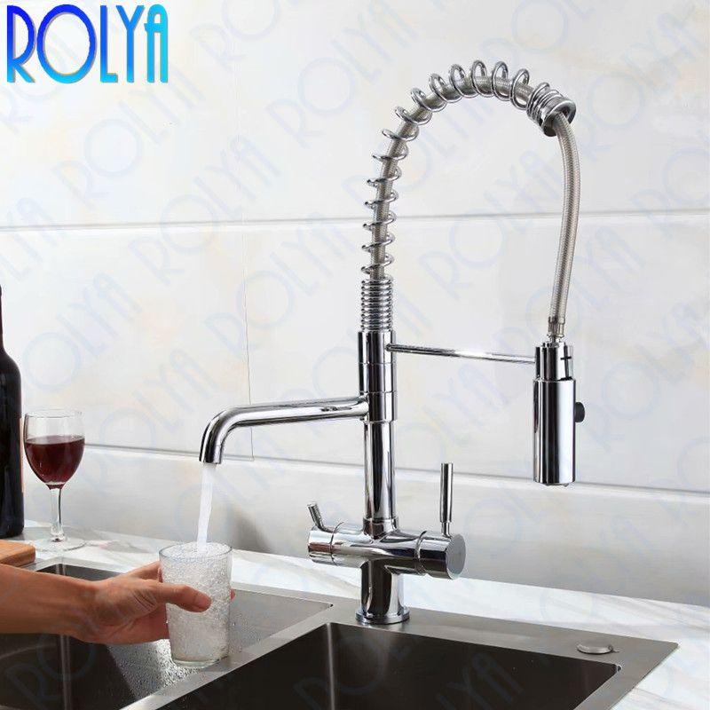 Rolya Neue Tri Flow Küche Wasserhahn Swivel mit Sprayer Schlauch Schwanenhals Pull Unten Waschbecken Mixer Messing Chrome 3 Weg, Wasser filter Tap