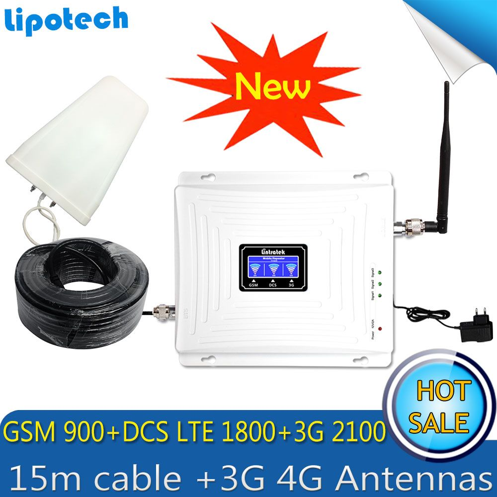 Lintratek 15m Cable Set Tri Band Repeater 2G 3G 4G GSM 900 DCS/LTE 1800 WCDMA/UMTS 2100MHz Booster Mobile Signal 3G 4G Antennas