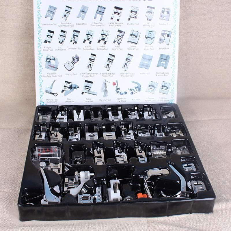 32Pcs Home Sewing Machine Presser Foot Braiding Blind Stitch Darning Feet Kit Set with Box For Brother Singer Janom Sewing Tool