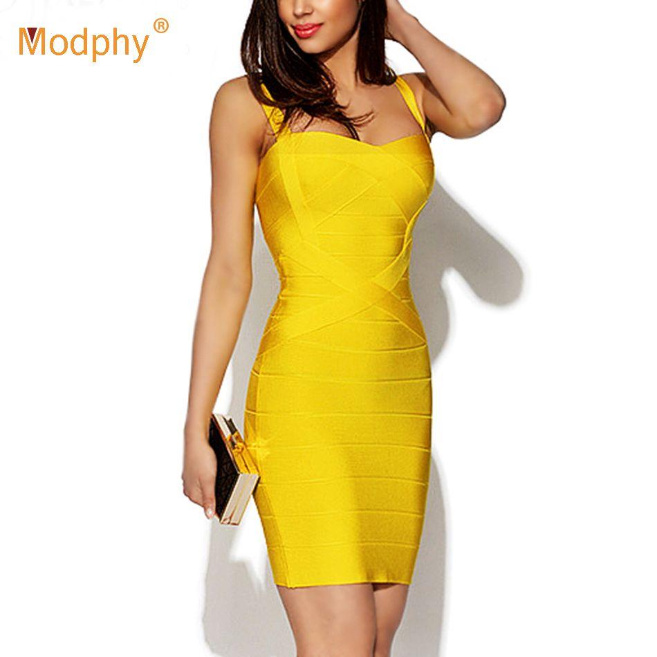 2018 nouvelles femmes Sexy Spaghetti sangle rayonne HL élastique célébrité Bandage robe moulante Mini Club fête robes livraison directe HL8675