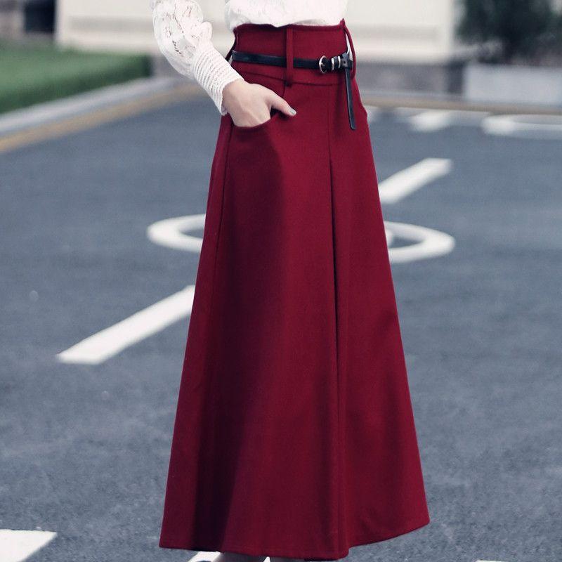 Новые зимние утепленные женские шерстяные юбка макси Высокая Талия Jupe Осень Длинная юбка faldas шерстяной Макси Юбка Saia Longa большой Размеры C2617
