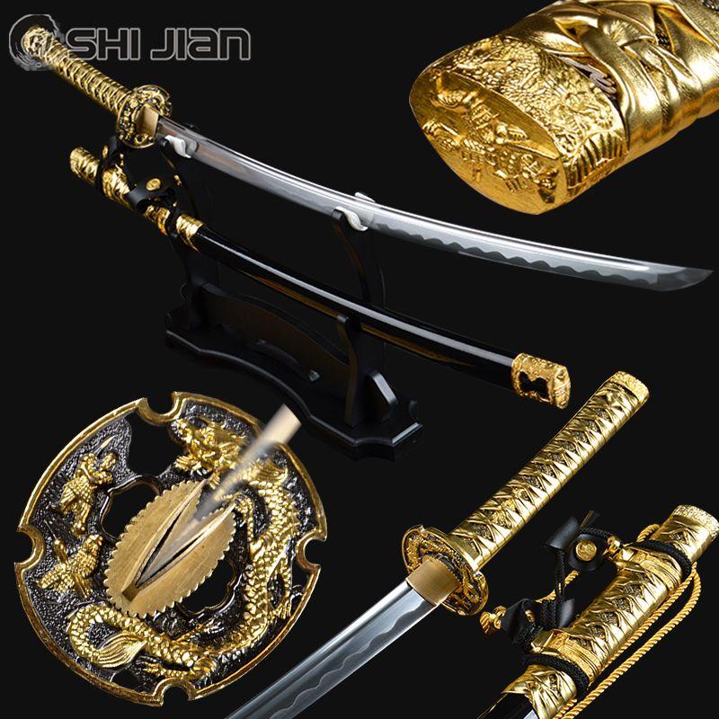 Shi Jian Swords Golden Tachi Sword Handmade Battel Ready Japanese Samurai Katana Full Tang Sharp High Carbon Steel Train Espadas