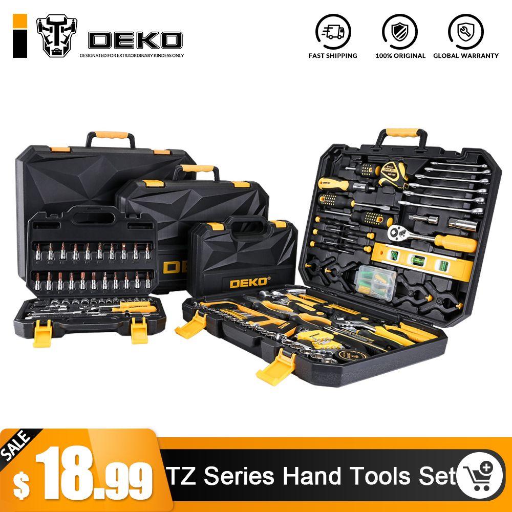 DEKO Hand Tool Set General Household Hand Tool Kit with Plastic Toolbox Storage Case Socket Wrench Screwdriver Knife