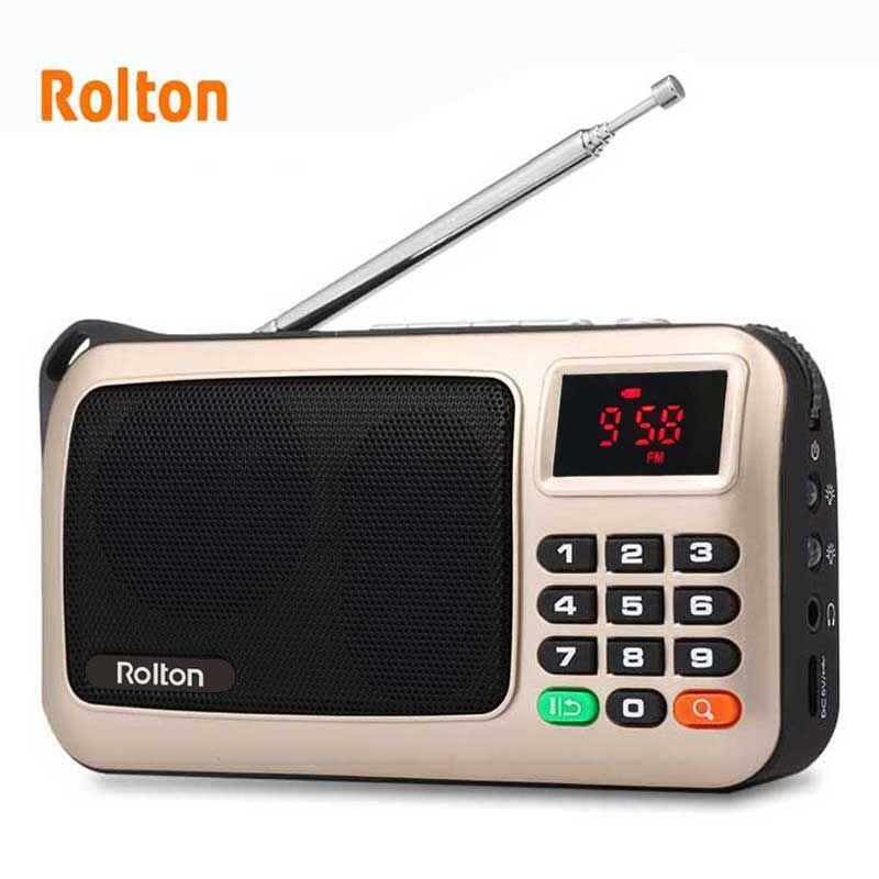 Rolton Mni FM haut-parleur Radio Portable lecteur de musique Mp3 carte TF USB pour PC iPod téléphone avec affichage de LED et lampe de poche
