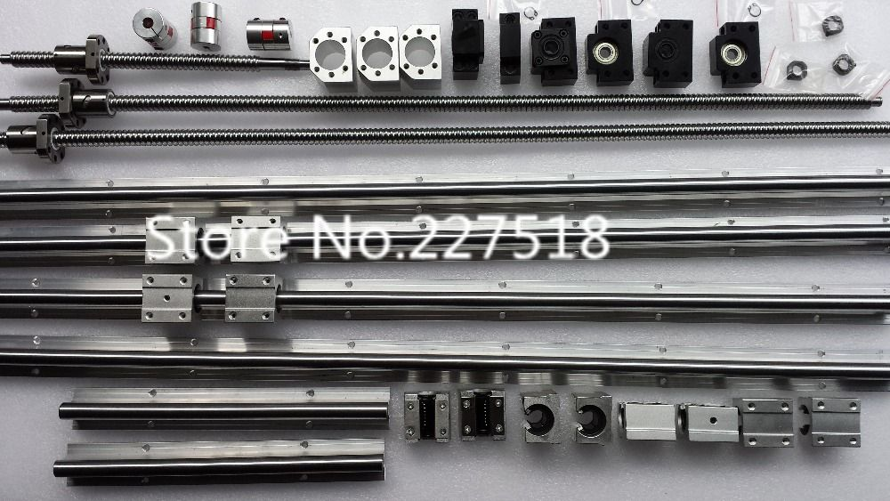 6 sets linear rail SBR16 L300/1000/1300mm+SFU1605-300/1000/1300mm ball screw+3 BK12/BF12+3 DSG16H nut+3 Coupler for cnc