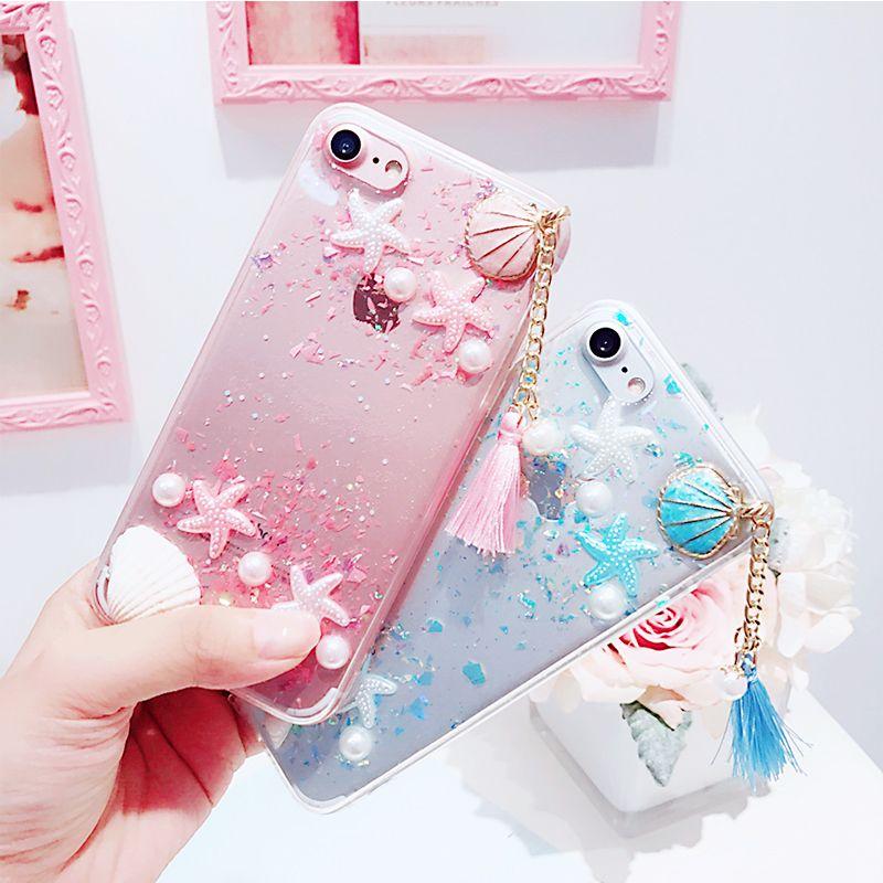 Pour Iphone 6 6 s 7 plus De Luxe Mignon Trèfle Coquillages frais style Perle Gland doux pleine couverture téléphone cas
