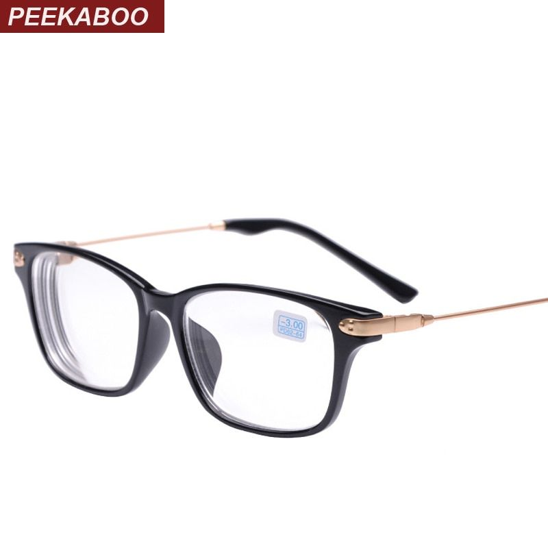 Peekaboo nouvelle marque de haute qualité pas cher prescription lunettes hommes étudiant-2-1.5 discount myopie lunettes femmes moins noir