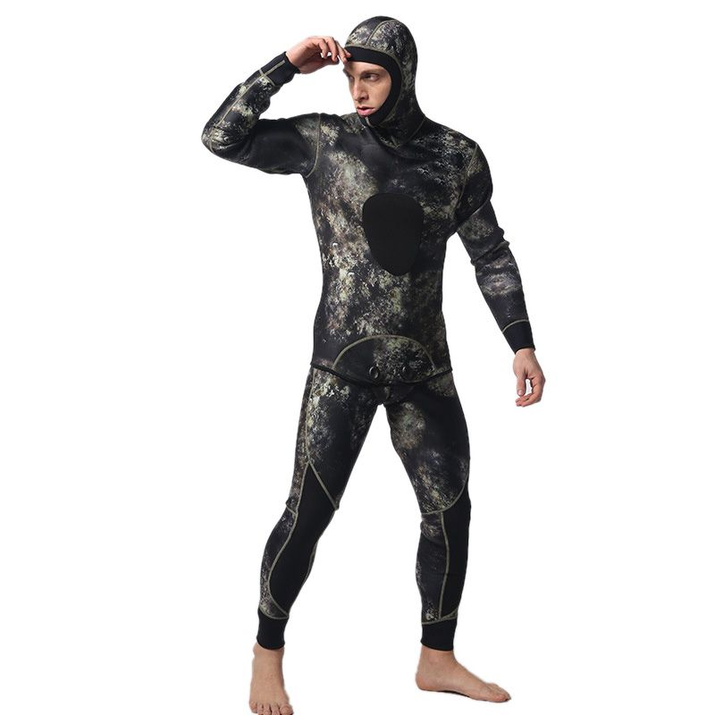 LIFURIOUS 5MM Scuba Diving Suits for Men 2 Pieces Long Sleeve Keep Warm Wetsuits Spearfishing Rash Guards Surfing Swimsuits