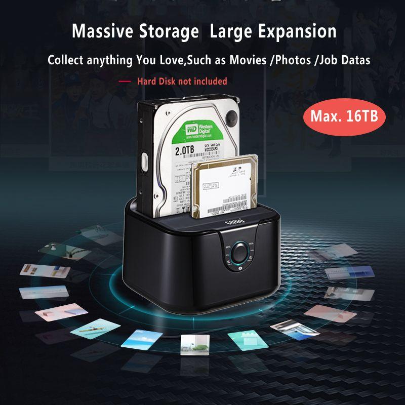 Dual bay SSD/HDD docking <font><b>station</b></font> hard disk docking Sata III to USB3.0 docking <font><b>station</b></font> clone function for 2.5/3.5 hdd Laptop