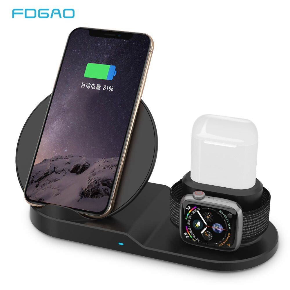 Chargeur sans fil FDGAO Qi Charge rapide pour iPhone 8 X XS Max XR Apple Watch 4 3 2 Airpods 10 W Charge rapide pour Samsung S9 S8 S7