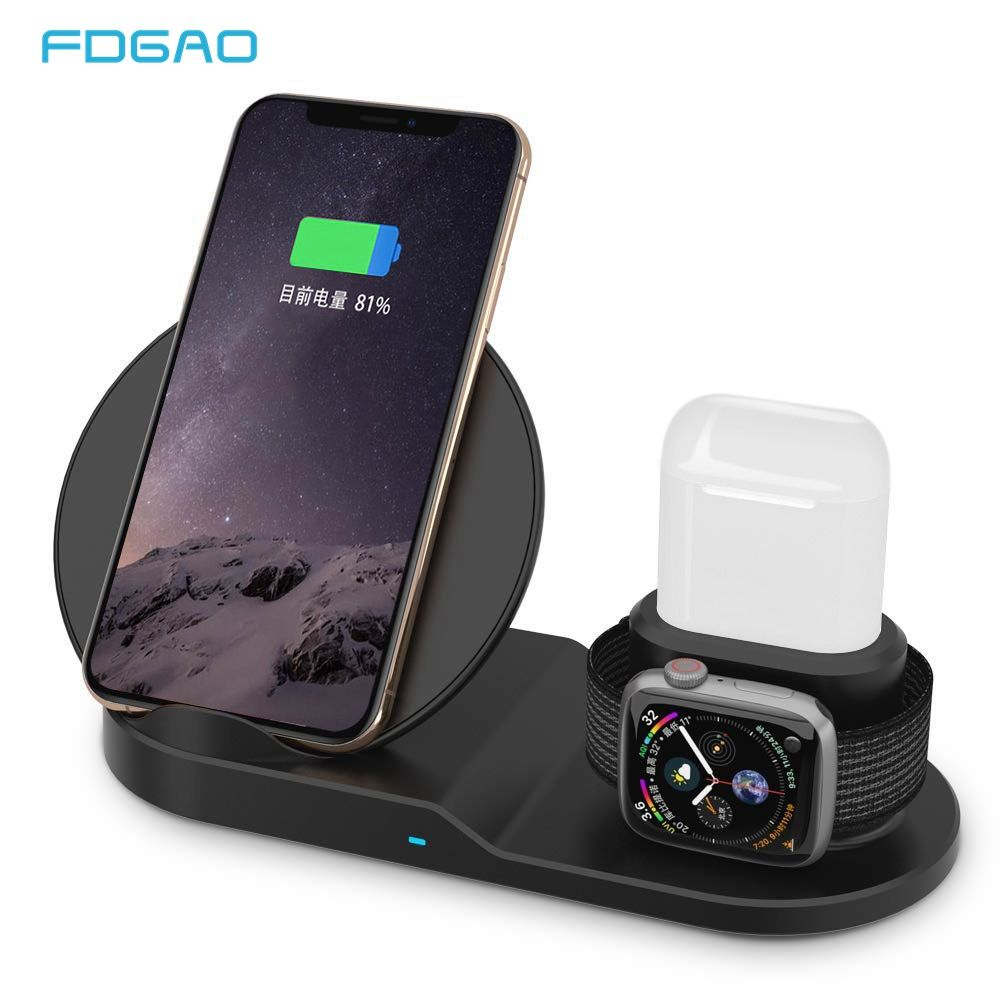 FDGAO Qi Wireless Charger Fast Charging for iPhone 8 X XS Max XR Apple Watch 4 3 2 Airpods 10W Quick Charge For Samsung S9 S8 S7