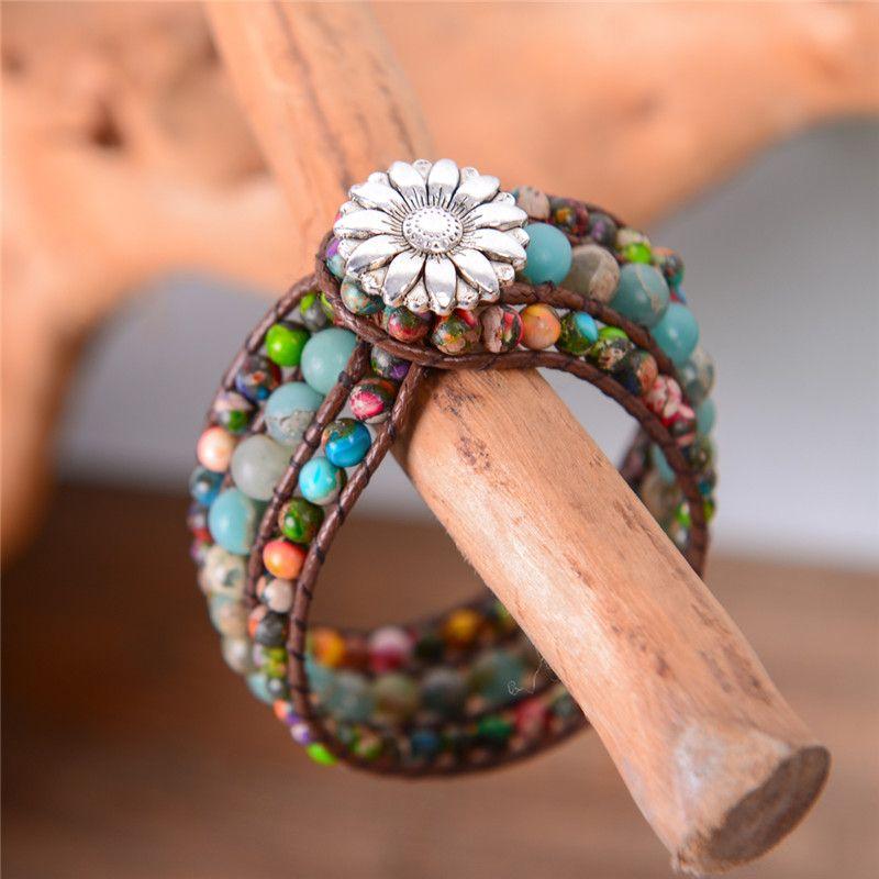 Natural Stone Women Boho Three Layer Bracelet Round Shape Emperor Stone Single Leather Wrap Bracelet Friendship Beaded Bracelet