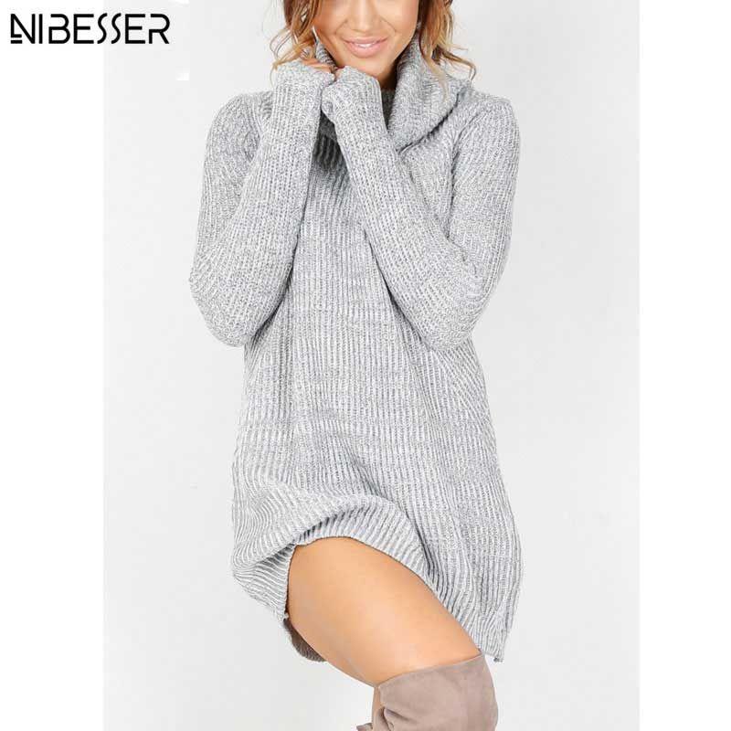 2017 Winter Long Sweater Dress Women Turtleneck Sweaters Pullover Women Famale Knitted Sweater Pullover Women Turtleneck
