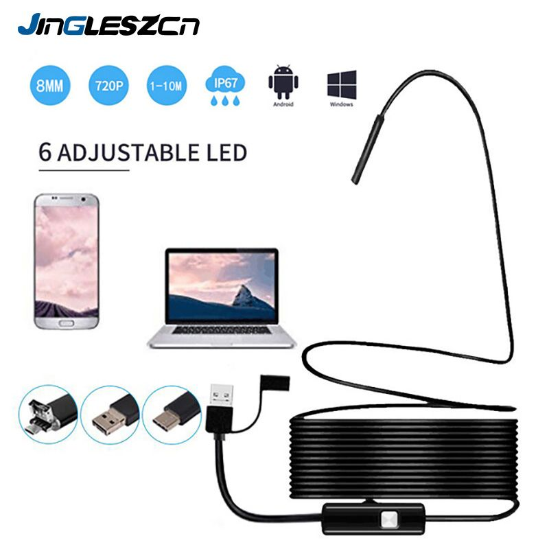 3 in 1 USB Endoscope Camera 8mm 720P HD Semi-rigid Borescope Inspection Camera IP67 Waterproof With 6 Led for Endoscope android