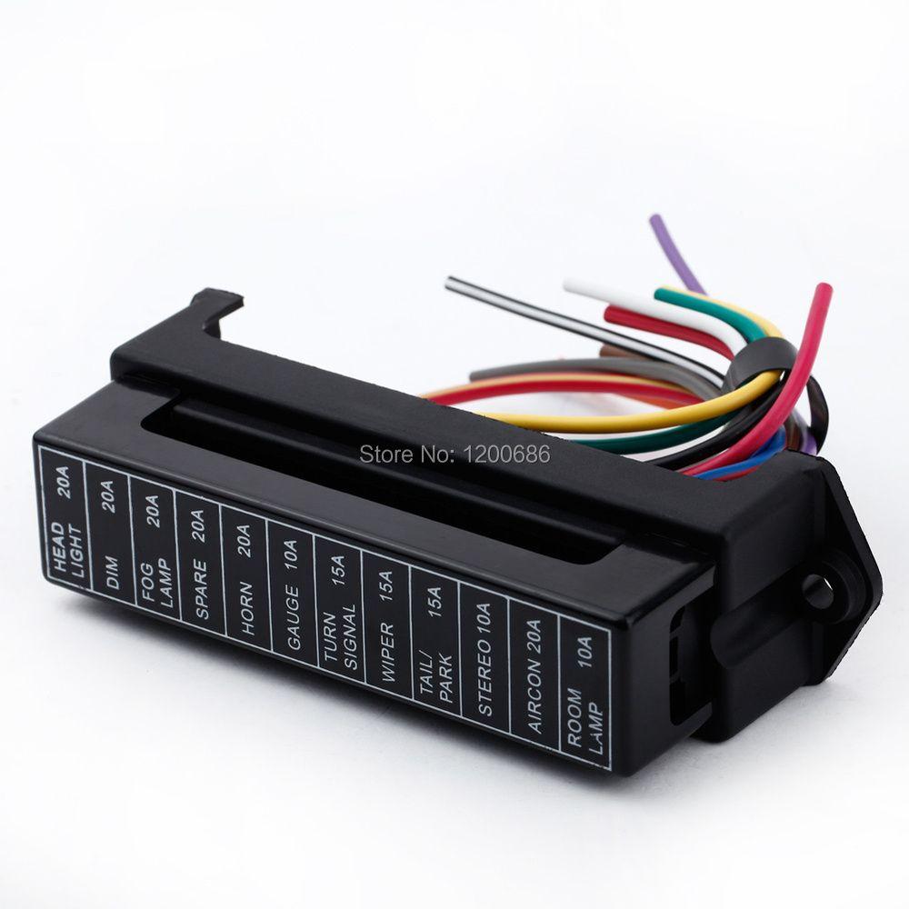 12 voies DC 12 V Volt fusible boîte 24 V 32 V Circuit voiture remorque Auto lame fusible boîte support ATC ATO 2-entrée 12-ouput fil