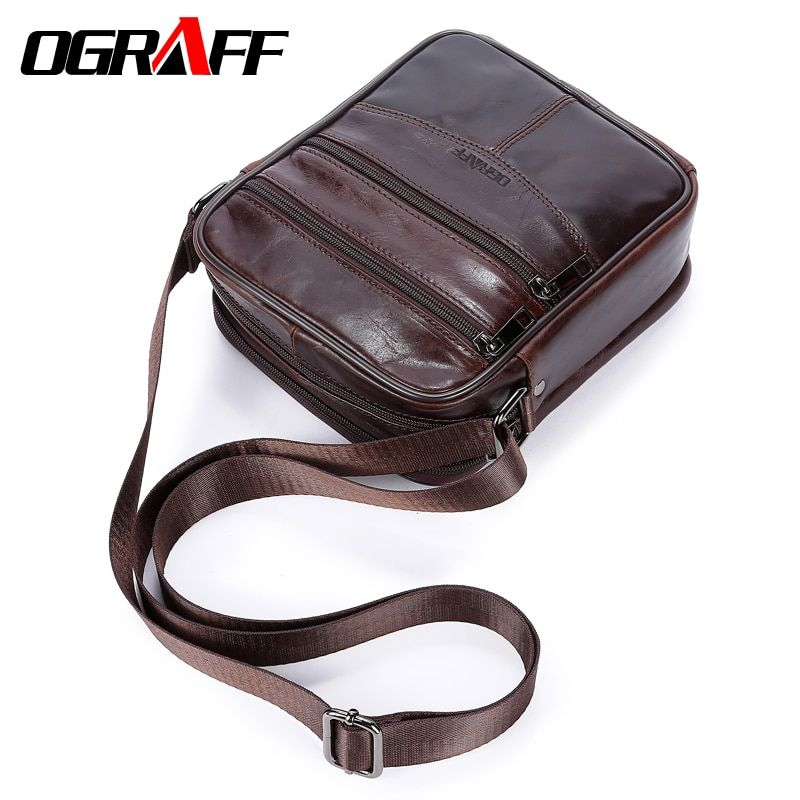 OGRAFF Genuine leather men <font><b>messenger</b></font> bag Tablets men's Shoulder bag handbag Vintage Crossbody Bags male briefcase Leather Bags
