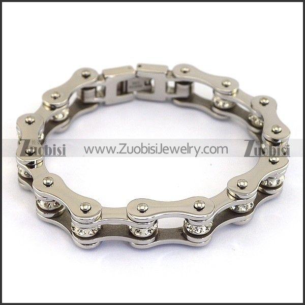 Серебряный браслет Мужская двигателя велосипедные цепи, браслеты с четкой камня в Длина 195 мм