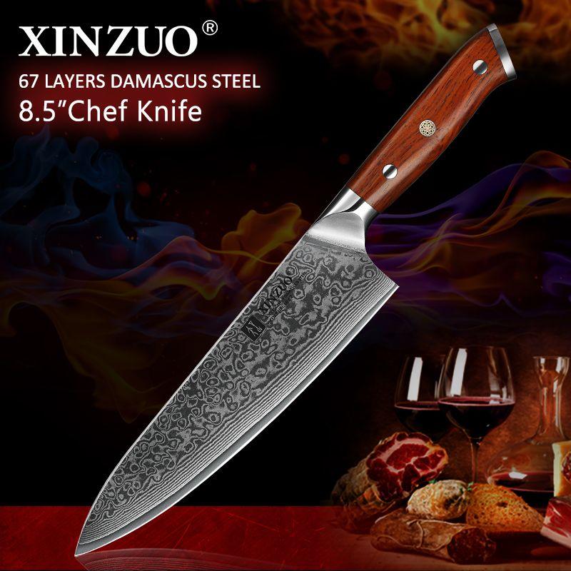 XINZUO 8.5 pouces Chef couteaux haute teneur en carbone VG10 japonais 67 couche damas couteau de cuisine en acier inoxydable couteau Gyuto manche en palissandre