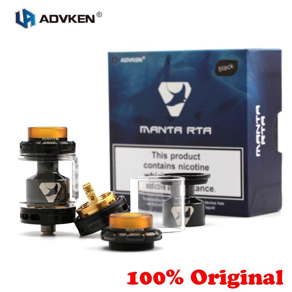 100% Original Advken MANTA RTA réservoir 5/3. 5 ml capacité 510 reconstructible goutte à goutte atomiseur Top remplissage 810 goutte à goutte pointe débit d'air réglable