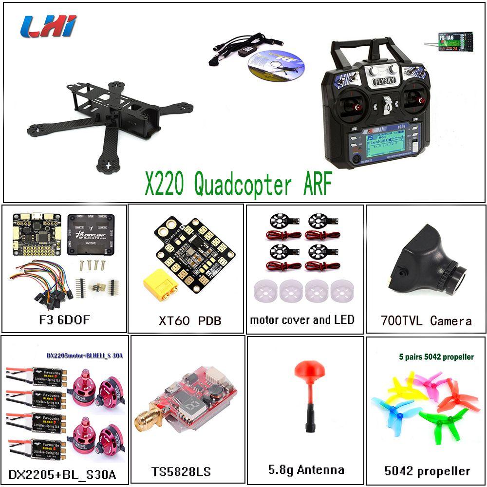 LHI X220mm RC Quadcopter Frame DX2205 Motor & 30A BLHeli_s ESC with FS-i6 of qav zmr drone F3 6DOF Flight Control 250 for drone