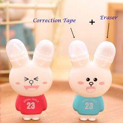 1Pc Cute Kawaii Stationery Correction Fluid Cartoon Rabbit Correction Tape Fix with Double Eraser Office School Supplies