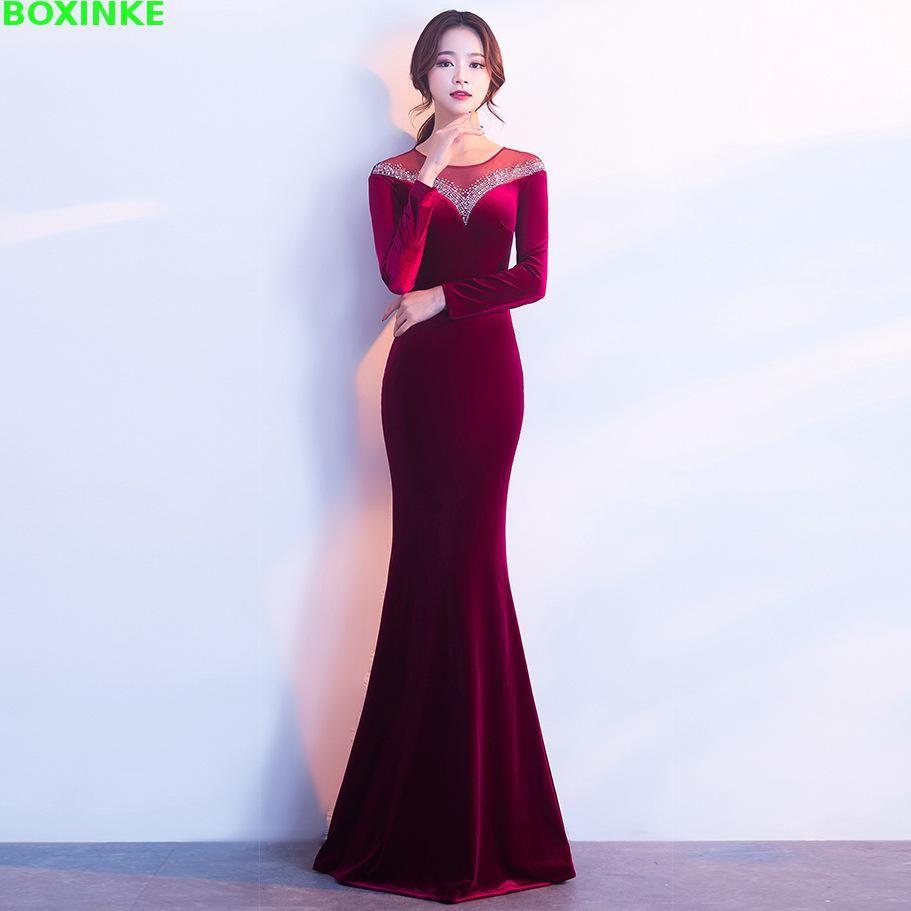 Vestido Longo Plus Size Hot Sale Full Mesh Dress 2018 New Velvet Party Autumn Long Sleeve Company Annual Meeting Host Fish Tail