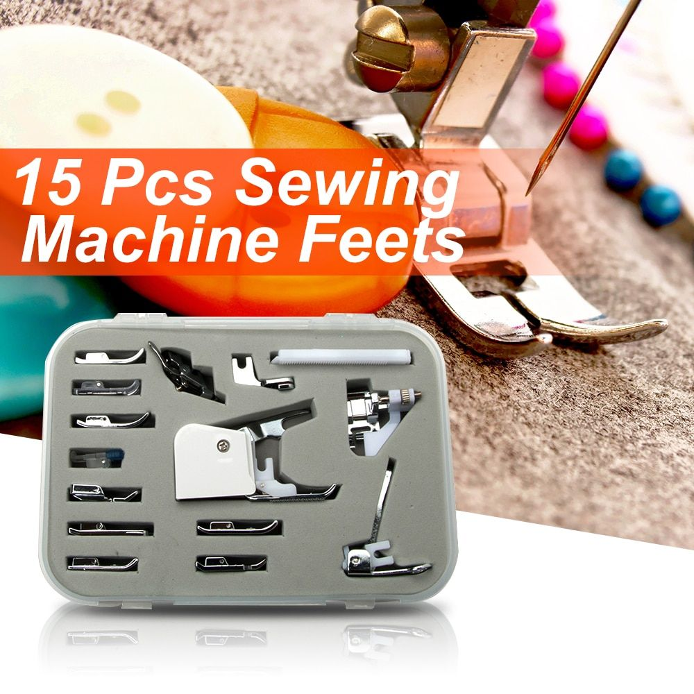 15 pièces multifonction domestique Machine à coudre presseur marche pied pieds Kit accessoires Arts artisanat vêtements outils de couture