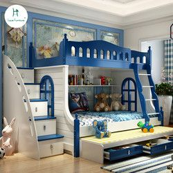 Loiuis Fashion Children Beds Multifunction Combination of Adult Cot  Bunk Bed Mediterranean Style