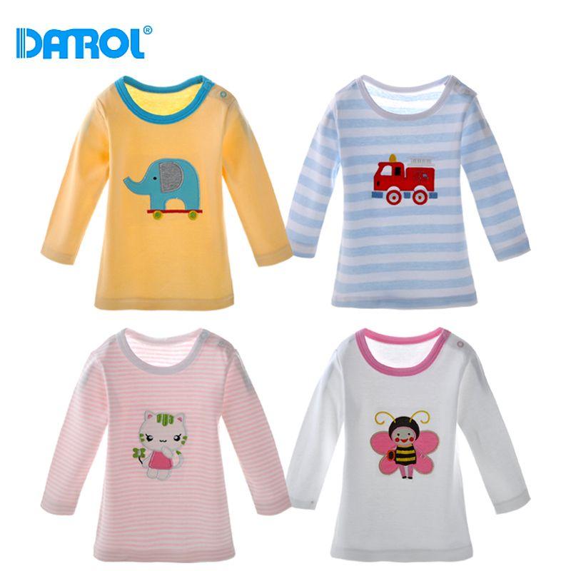 DANROL 5 Pcs/ensemble Bébé Fille Tops Bébé Manches Longues Tops Coton T-shirt Mignon Bébé Filles Garçon Vêtements Bébé T-Shirt MKBCTS002