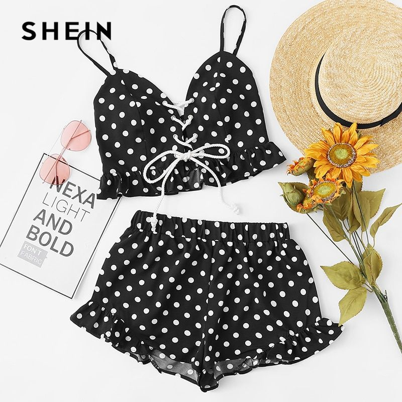 SHEIN Ruffle Hem Lace Up Cami Top And Shorts Set Women Spaghetti Strap Sleeveless 2 Pieces Summer Vacation Polka Dot Twopiece
