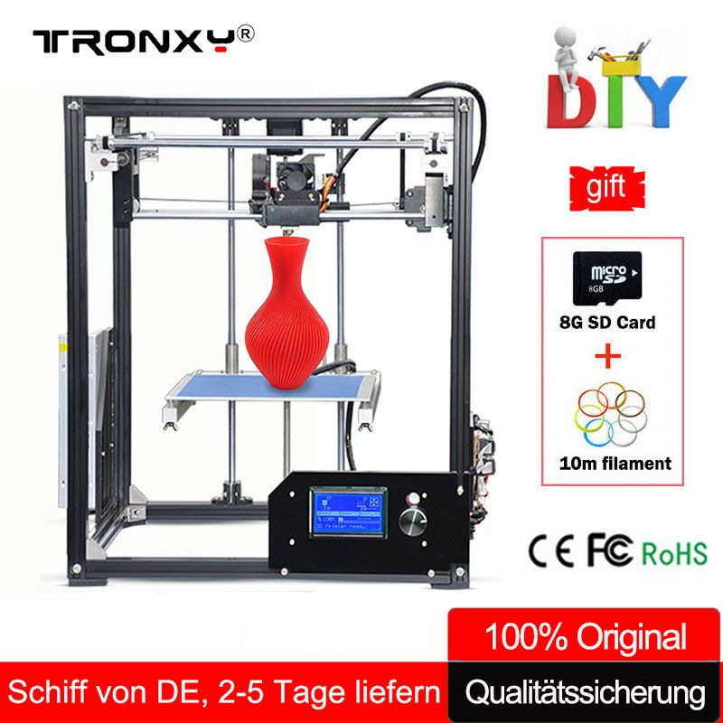 Tronxy 3D Printer Kit Large 3D Printing Area 210*210*280mm LCD Screen Extruder Aluminium Frame Metal 3 d printer with Heated Bed