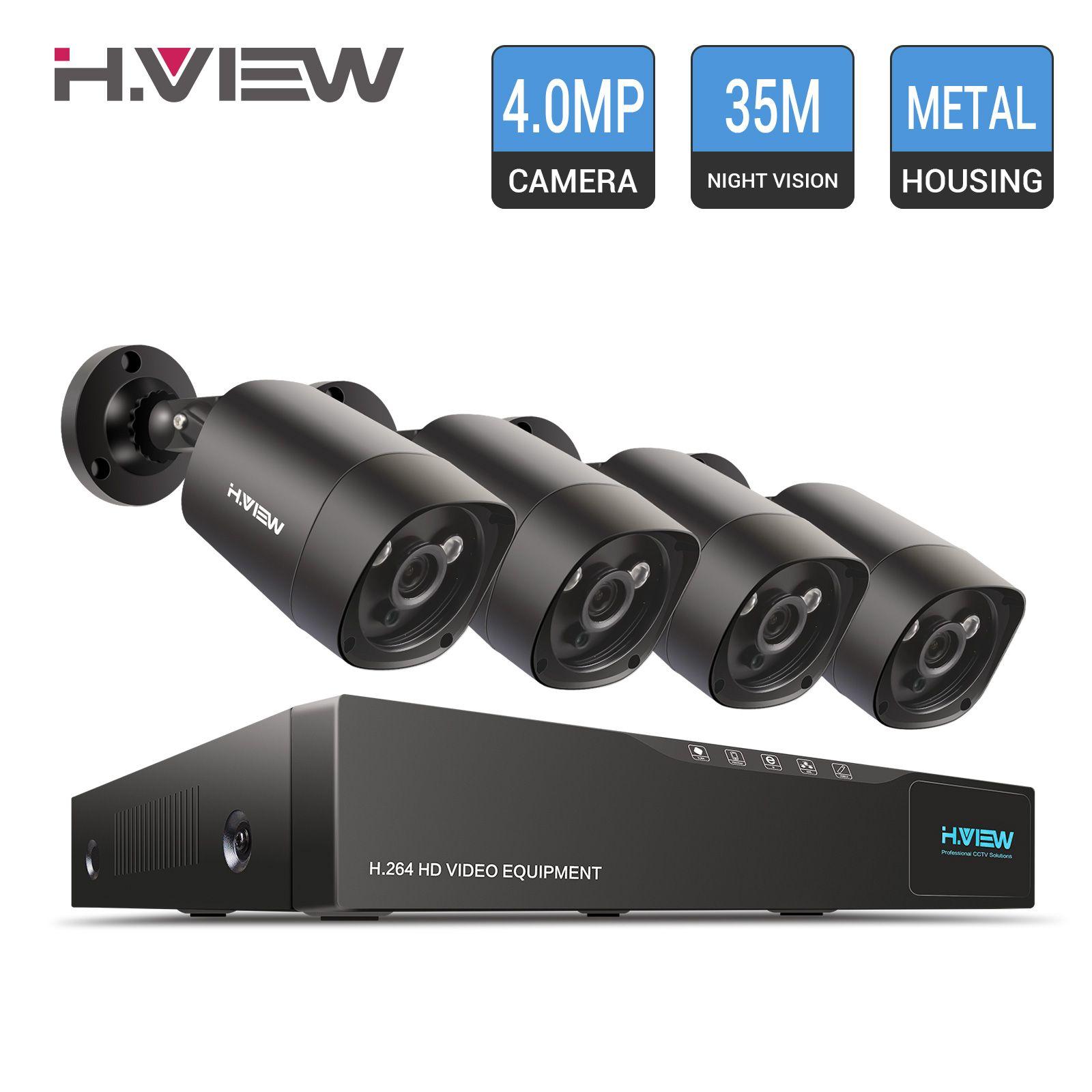 H.View CCTV System 4.0 MP Video Surveillance System 4PCS Security Camera IR CUT Weatherproof 4CH DVR CCTV Camera set