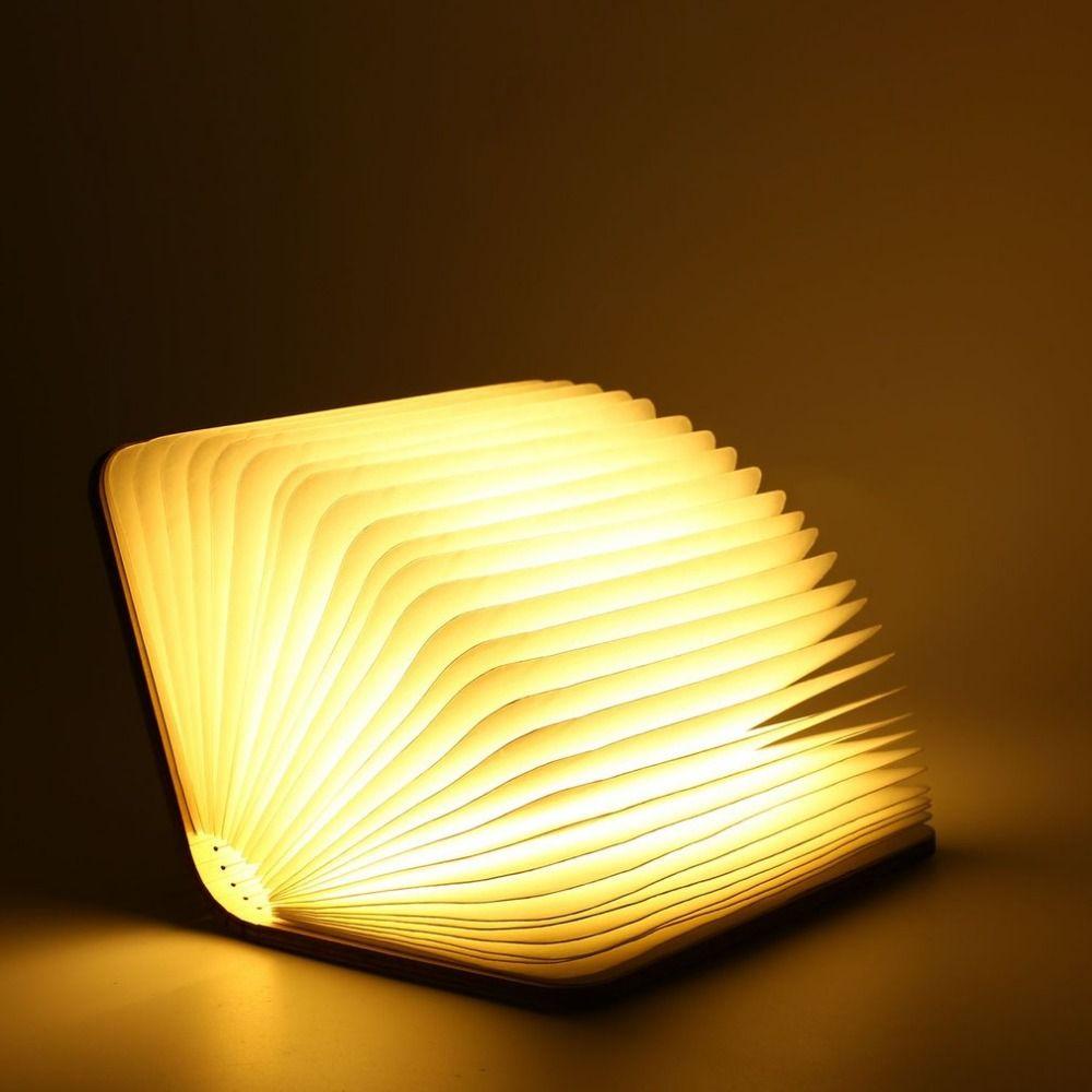 Icoco USB Перезаряжаемые складной LED Настольная лампа книга Форма деревянная книга Форма Ночная Белый теплый белый для украшения дома s /M/L