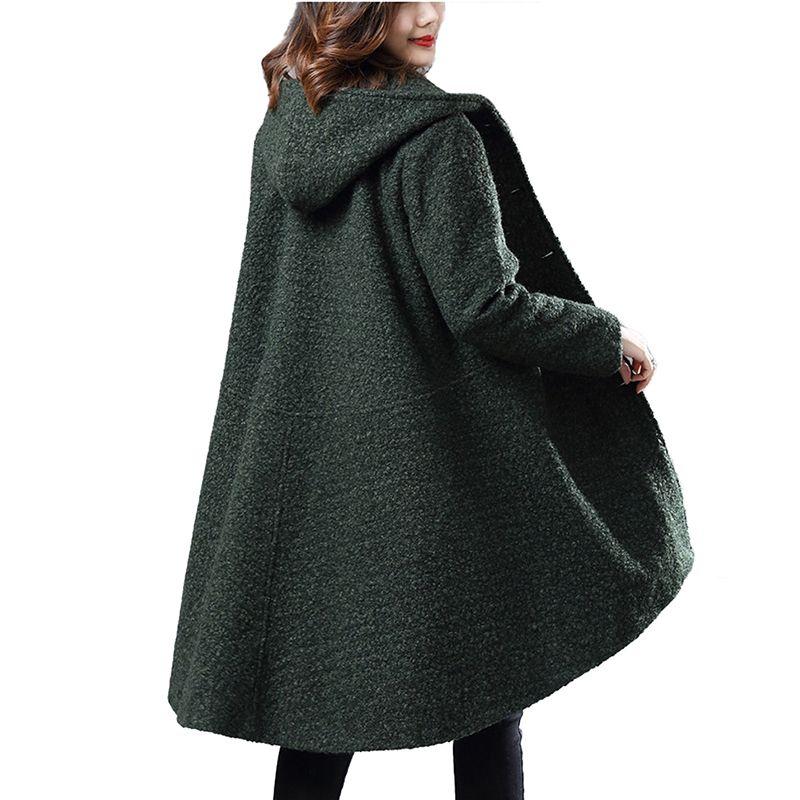 Woolen coat women Autumn Winter Cloak coats Hooded tops students wool jackets Loose Long sleeve Single-breasted Woolen Outerwear