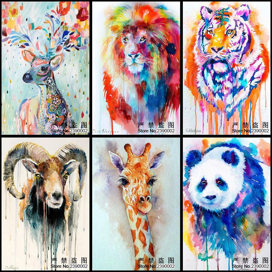 5D bricolage diamant peinture Animal tigre Lion Panda girafe photos diamant mosaïques carré point de croix maison cadeaux décoratifs