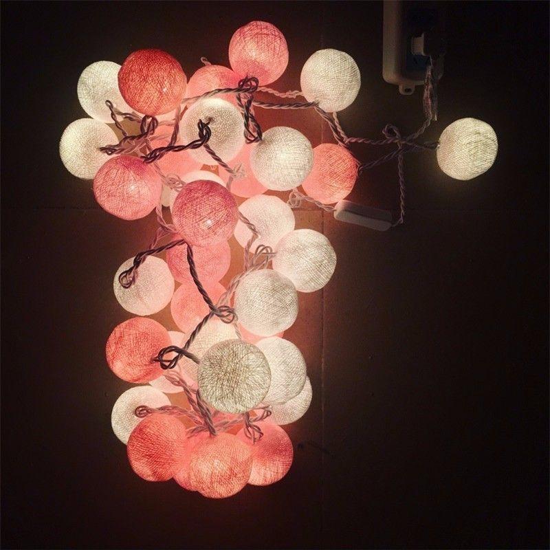 2017 de Diseño de Moda de Algodón Colorido de la Bola LED de Batería Alimentado LLEVÓ Luces Del Banquete de Boda de Cuerda Luz de Navidad la Decoración de Navidad Patio
