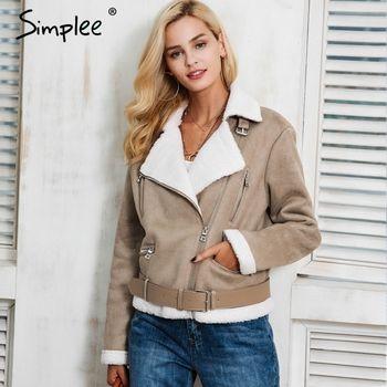 Simplee кожа замша ягненка Меховая куртка пальто женские туфли из искусственной замши куртка поясом отложным зимняя куртка женские Повседневн...