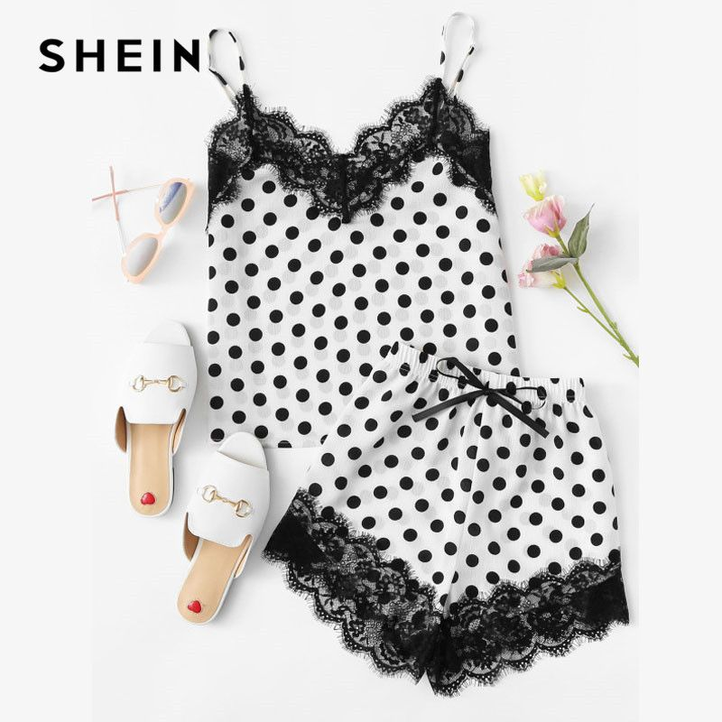 SHEIN Women Sleepwear Shorts and Top Pajama Sets Sleeveless Eyelash Lace Trim Polka Dot Cami & Shorts PJ Set Nightwear