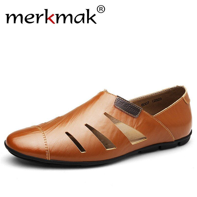 Merkmak Summer Handmade Genuine Leather Men Loafers Casual Luxury Brand Men Shoes Fashion Breathable Driving Shoes Plus Size 47