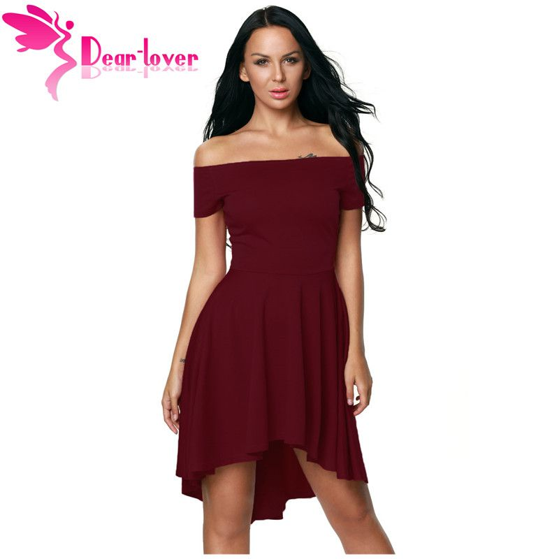 Dear <font><b>Lover</b></font> Elegant Women 2017 for Party Dresses Sexy Off Shoulder Burgundy All The Rage Skater Dress Vestidos de Festa LC61346
