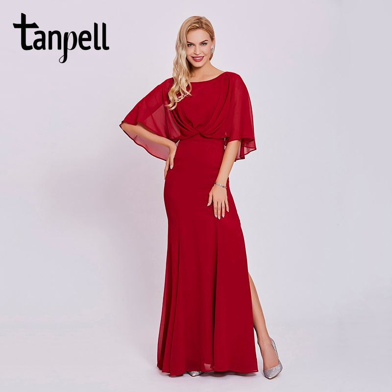 Tanpell red long evening dresses new women bateau half sleeves floor length gown sweep train party formal mermaid evening dress