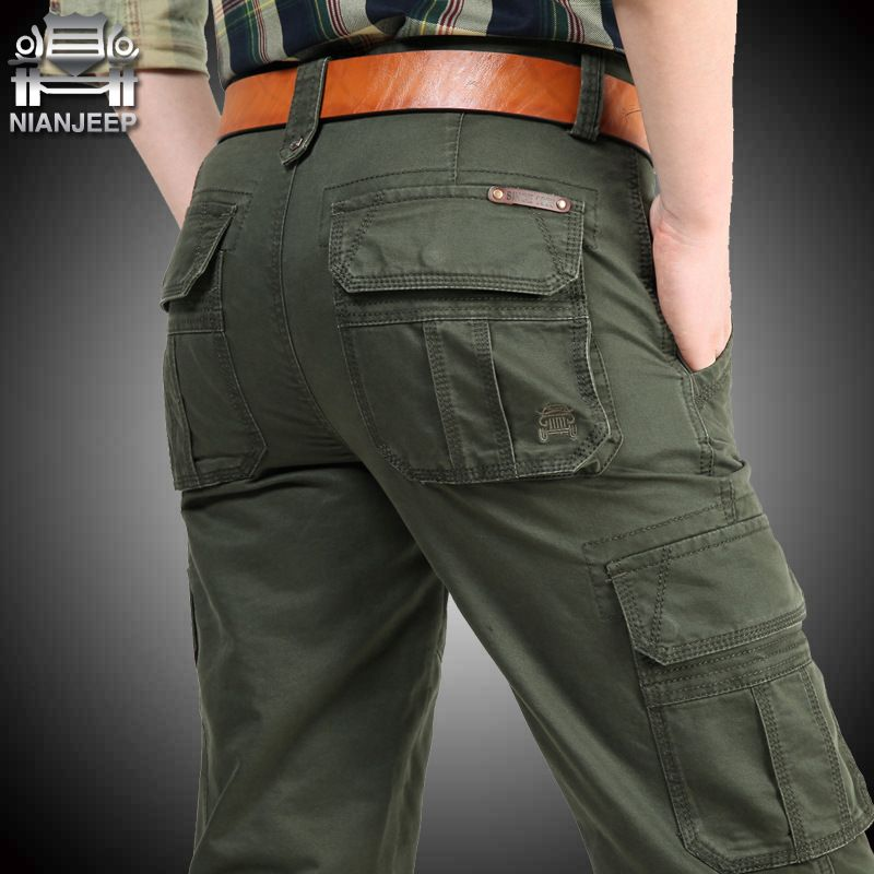 NIANJEEP Cargo Pants Mens Cotton Military Multi-pockets Baggy Men Pants Casual Trousers Overalls Army Pants Joggers Size42