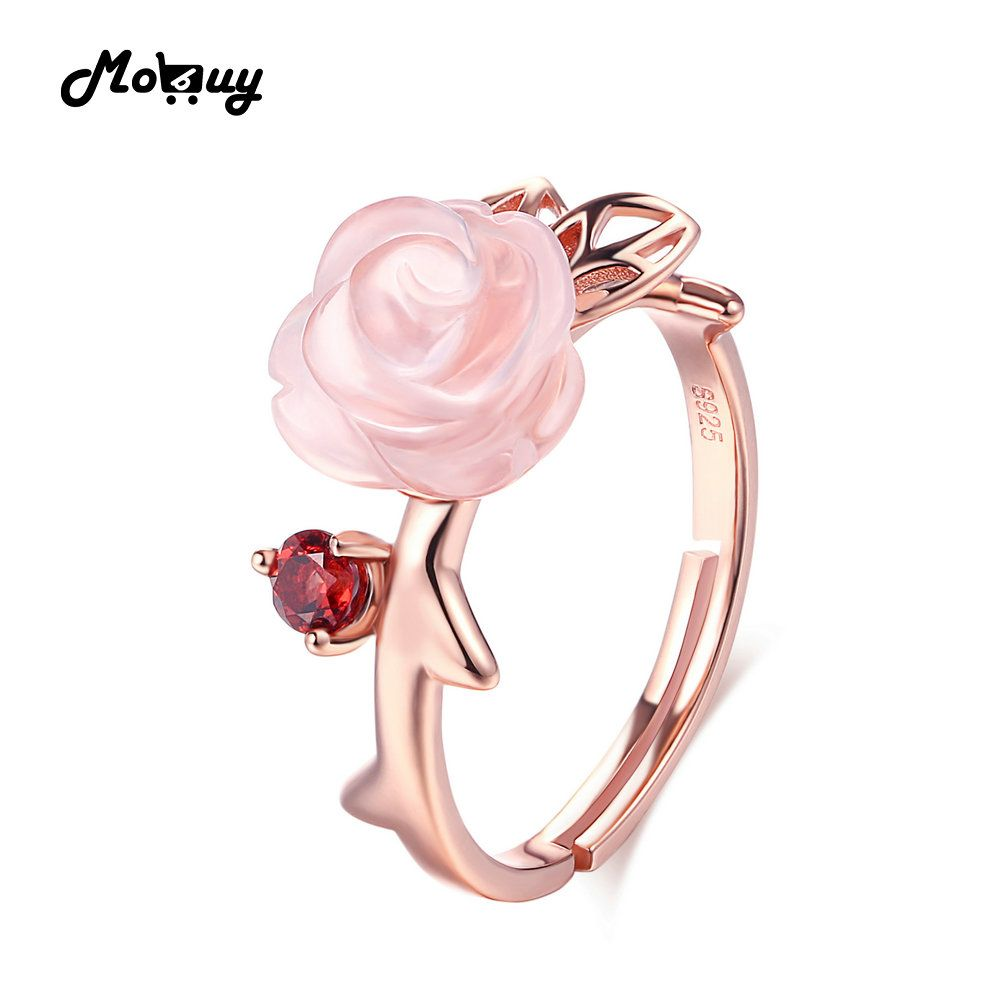 MoBuy MBRI025 Special Pink Flower Natural Gemstone Rose Quartz <font><b>Ring</b></font> 925 Sterling Silver Gold Plated Adjustable Jewelry For Women