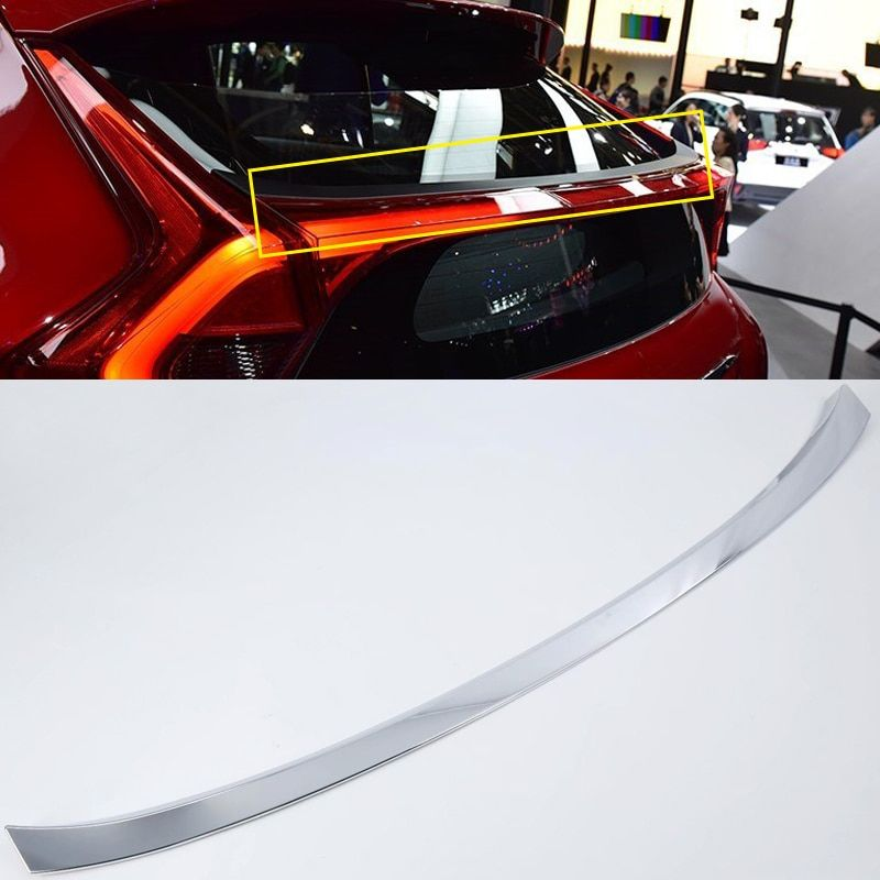 For Mitsubishi Eclipse Cross 2018 ABS Chrome Rear Trunk Spoiler Wing Molding Strip Cover Trim 1pcs Auto Accessories