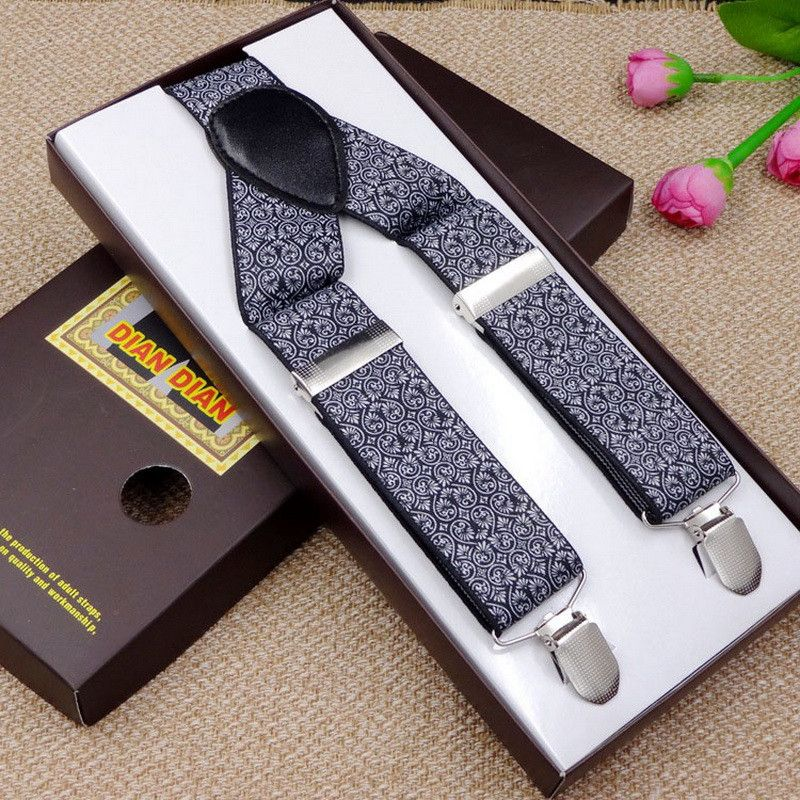 Fashion Printed Suspenders Men Three Clips-on Braces Vintage Mens Suspender For Trousers Husband Male Suspensorio For Skirt