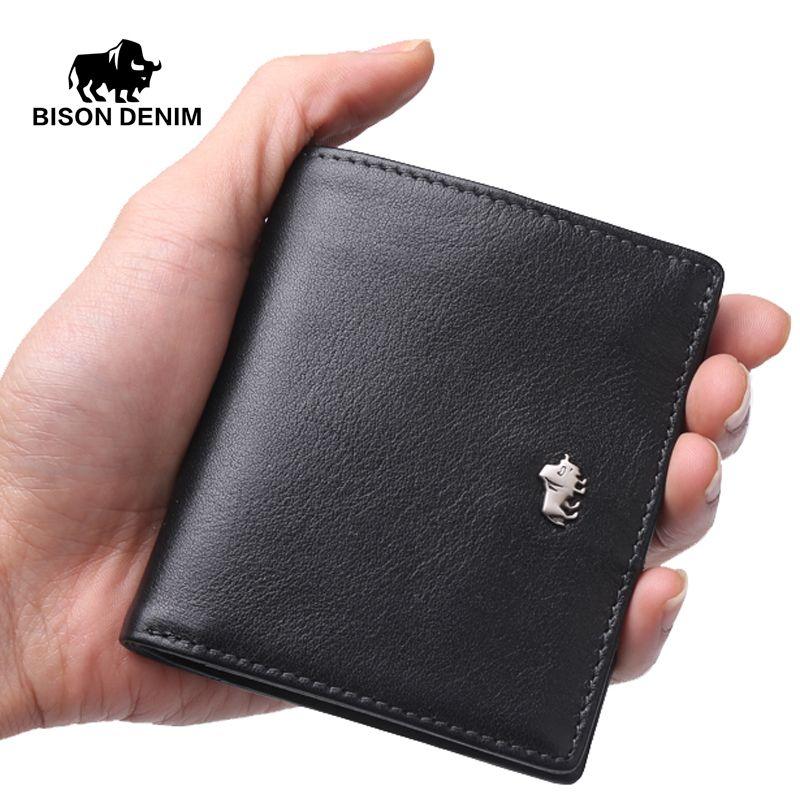 BISON DENIM Short Wallets For Men Genuine Leather Wallet Men Coin Pocket Card Holder Purse Mini Small Wallet Business gift