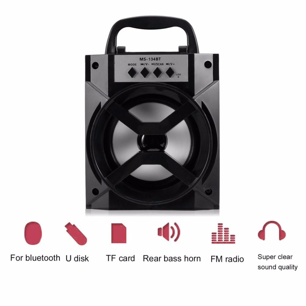 MS-134BT Wireless Bluetooth Speaker Multimedia Mobile Loudspeaker USB & 3.5mm FM Radio Subwoofer With TF Card Slot For Outdoor