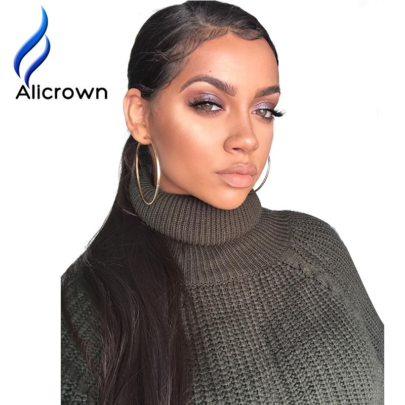 Alicrown Straight Lace Front <font><b>Human</b></font> Hair Wigs Free Part Brazilian Remy Hair Wig 8-24Pre Plucked Natural Hairline